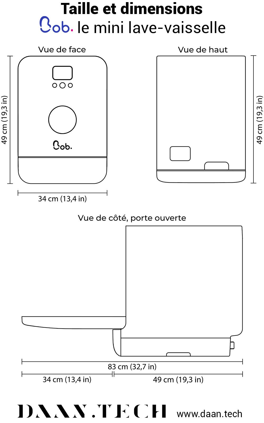 Dimensions Bob mini lave-vaisselle