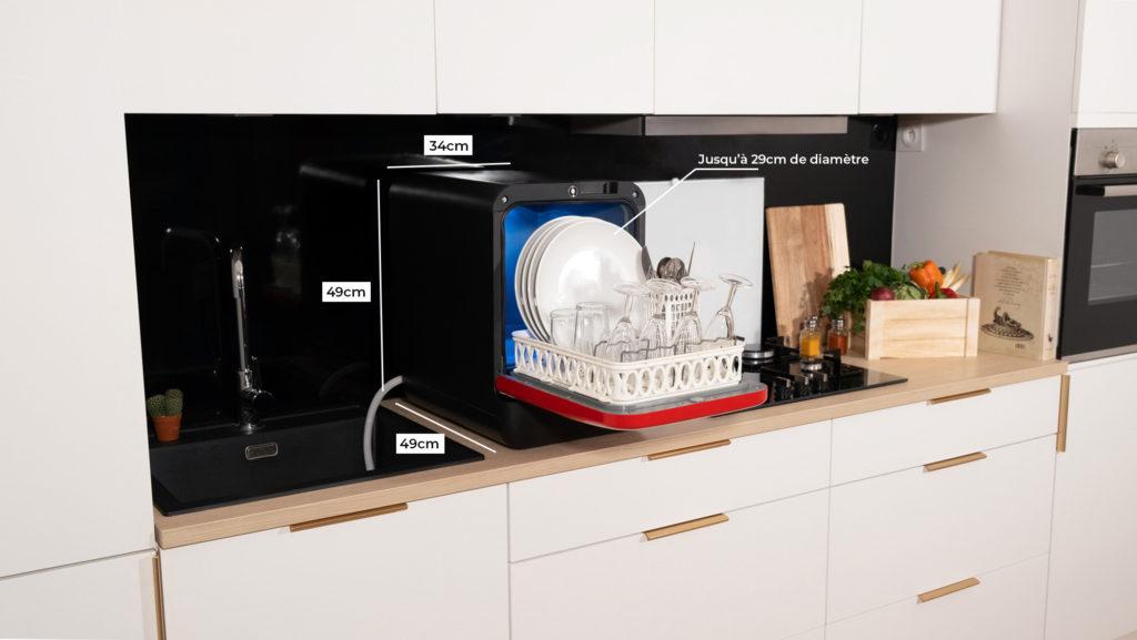 Bob mini lave vaisselle rouge noir ouvert panier dimensions