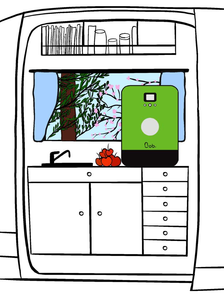 installation bob le mini lave vaisselle compact van aménagé camping car mobilité