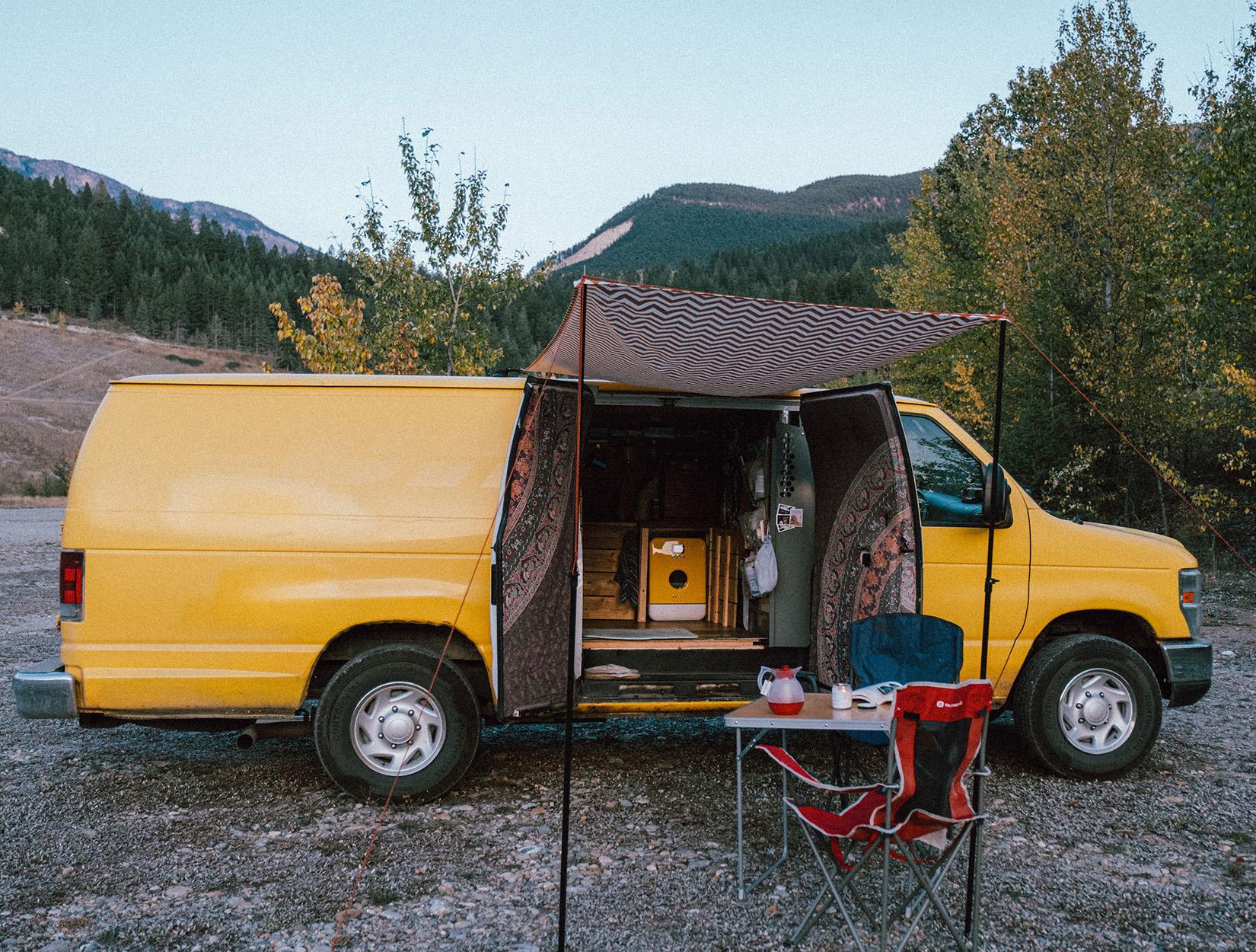 Bob in campervan wild Canada Ghedeist large view