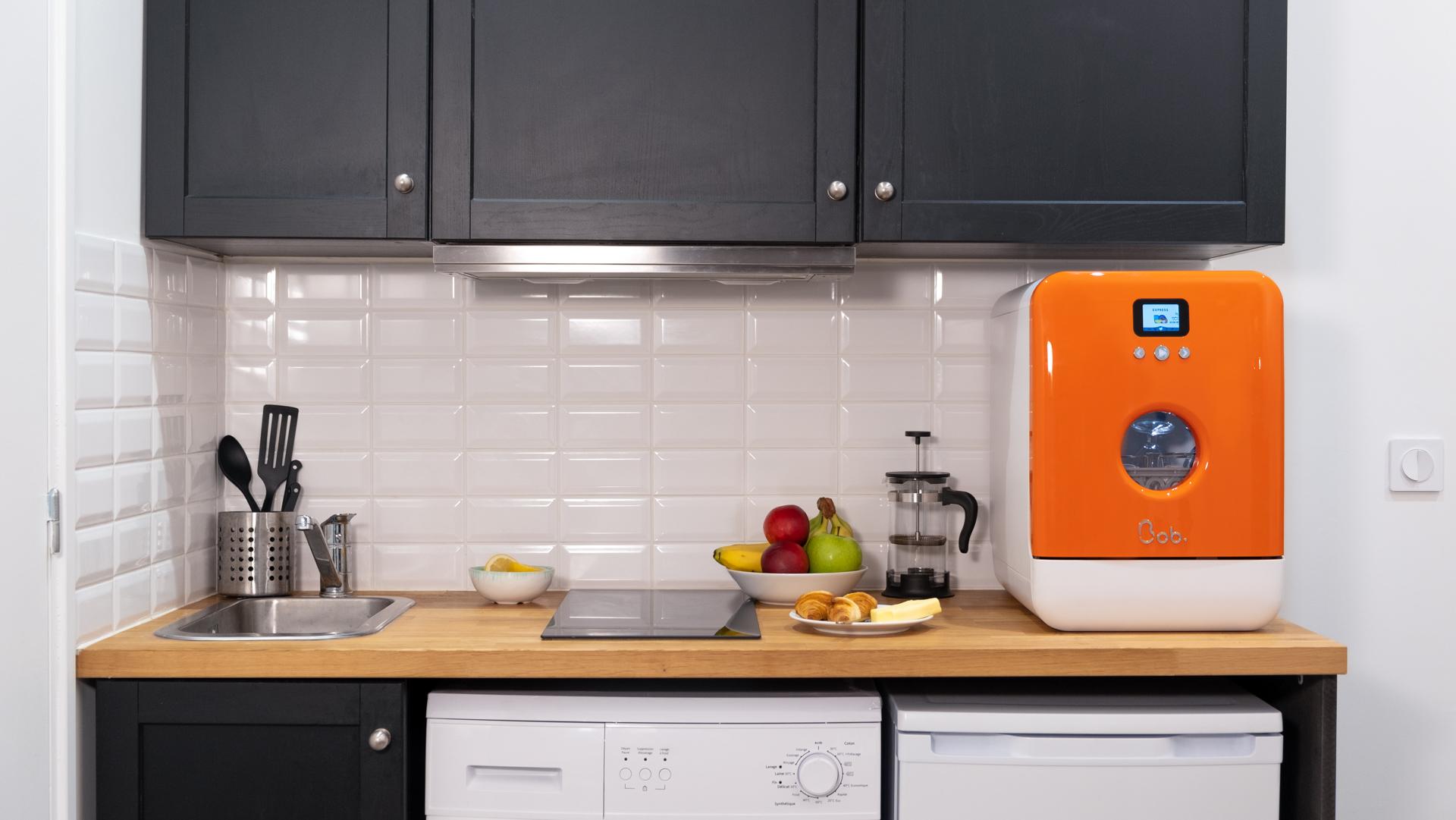 Bob small mini lave vaisselle dishwasher small kitchen student orange